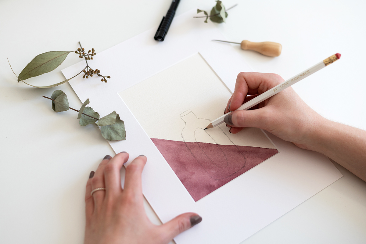 Trockenblumen-Bild mit Illustration | we love handmade