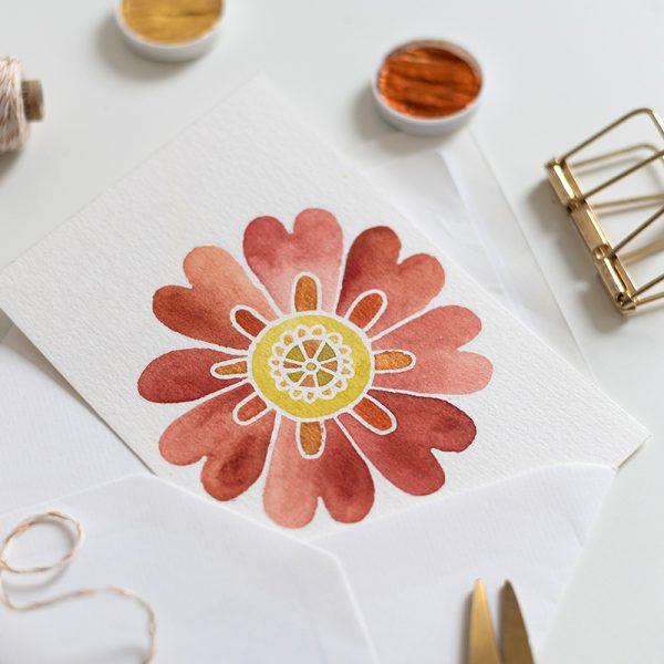 Aquarell-Blumen-Mandala-Karte | we love handmade