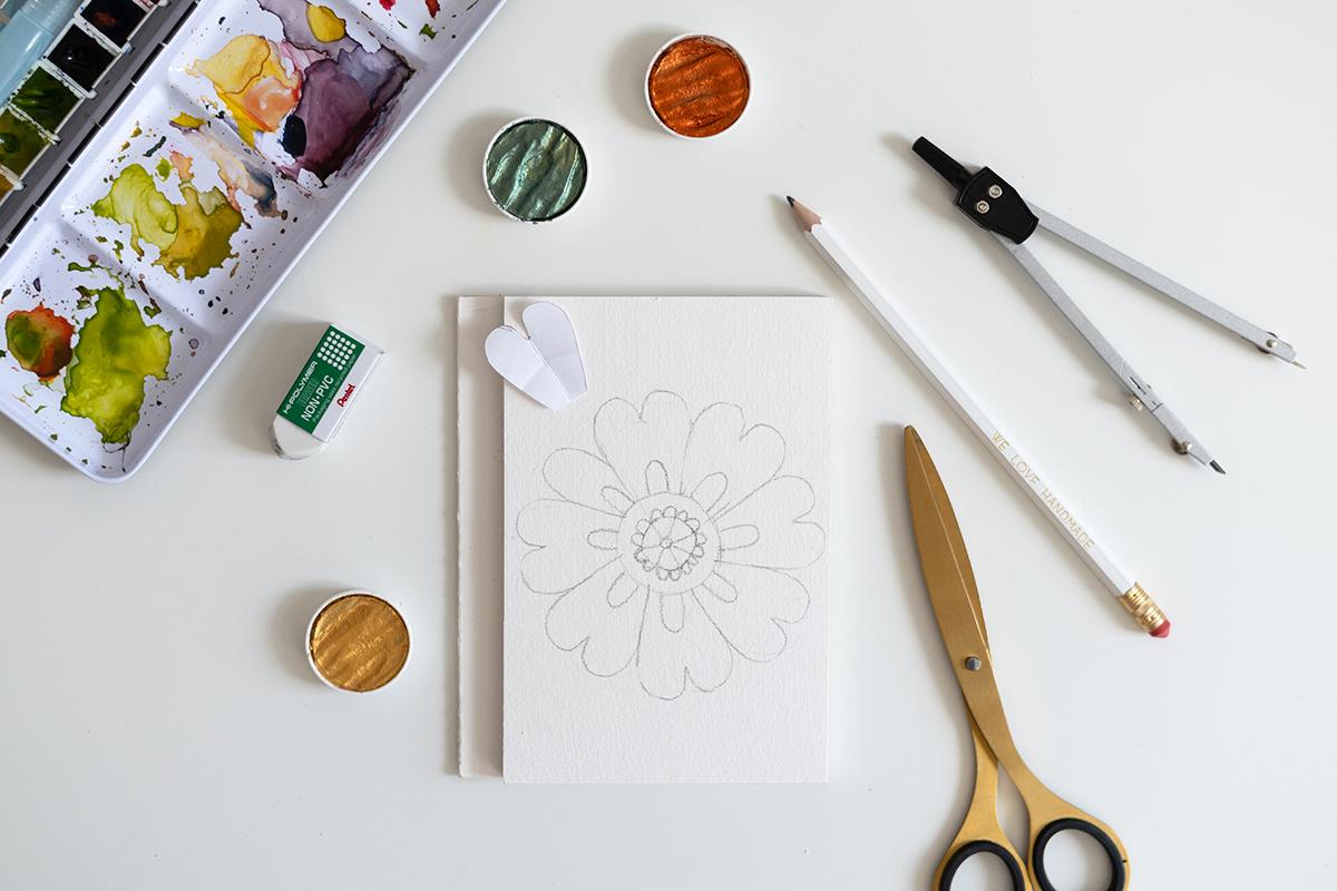 Blumen-Mandala – Skizze für DIY-Karte   we love handmade
