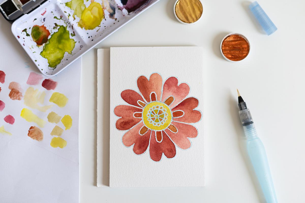 DIY: Blumen-Mandala mit Aquarell   we love handmade