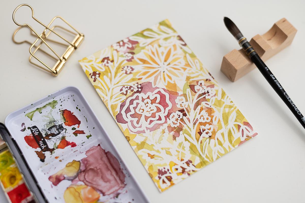 Aquarell-Blumen lasieren | we love handmade