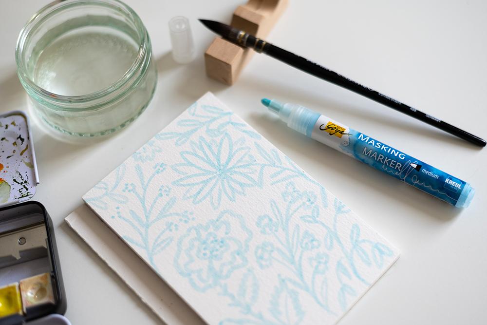 Blumen-Aquarell Negativ | we love handmade