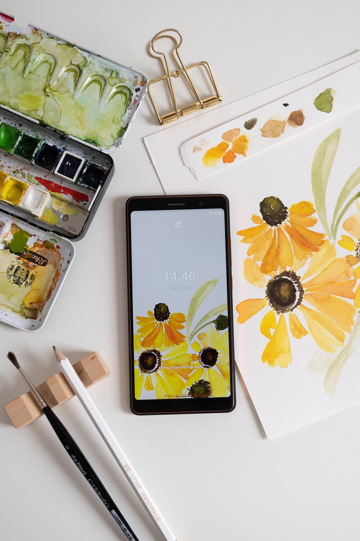Herbstblumen-Aquarell: Wallpaper   we love handmade
